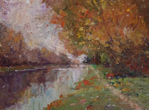 Broad Ripple Canal, 9x12,  ©CWMundy