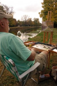 "CW on location ""Broad Ripple Canal, Autumn Day"" 9x12  ©CWMundy"