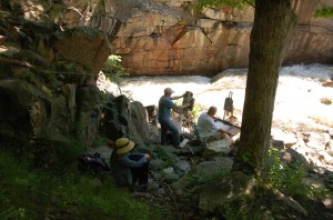 Painters at The Flume Waterfall on the Ausable River